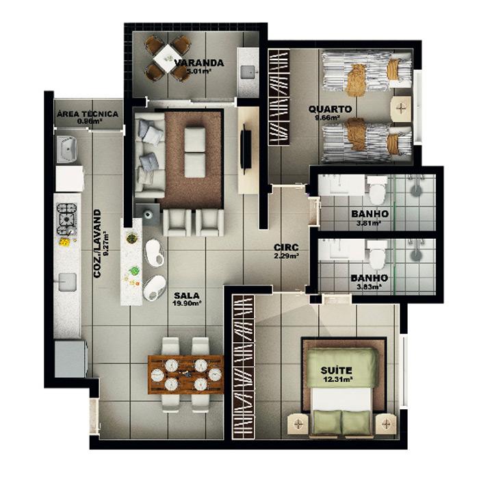Apartamento, 77,48 m² c/ 1 vaga