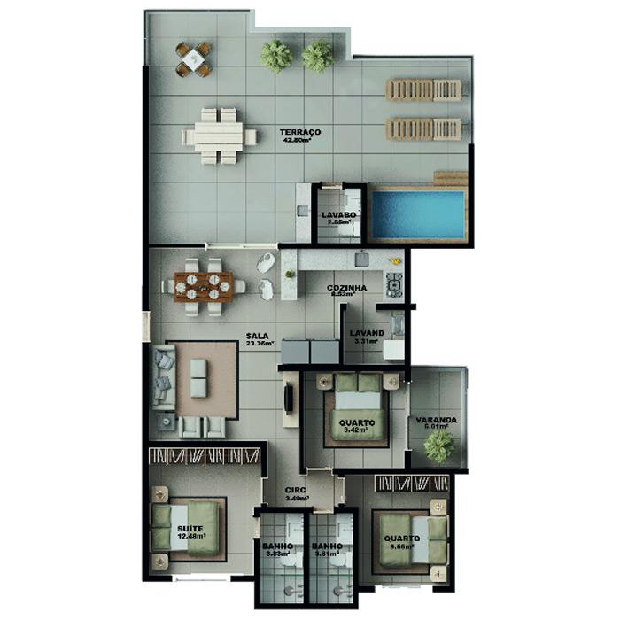 Apartamento na cobertura, 155,44 m² c/ 2 vagas