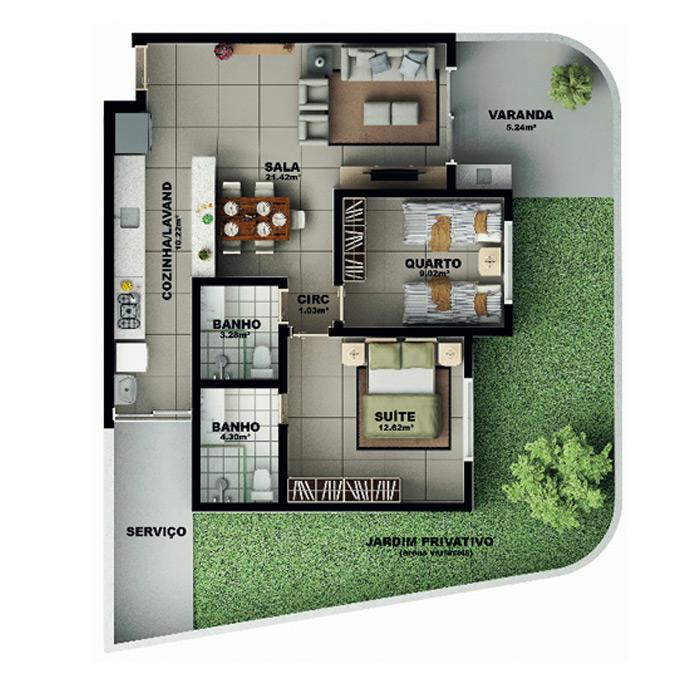 Apartamento, 117,50 m² c/ 1 vaga
