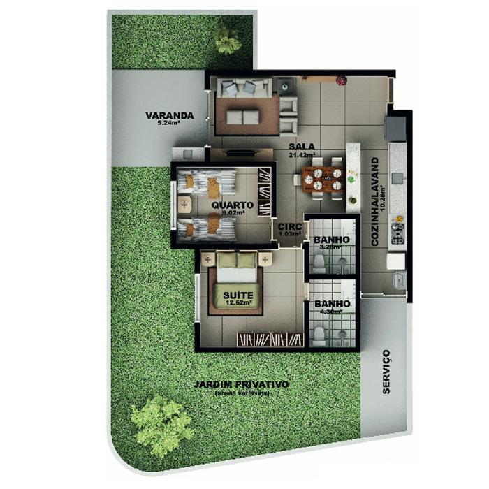 Apartamento, 118,15 m² c/ 1 vaga