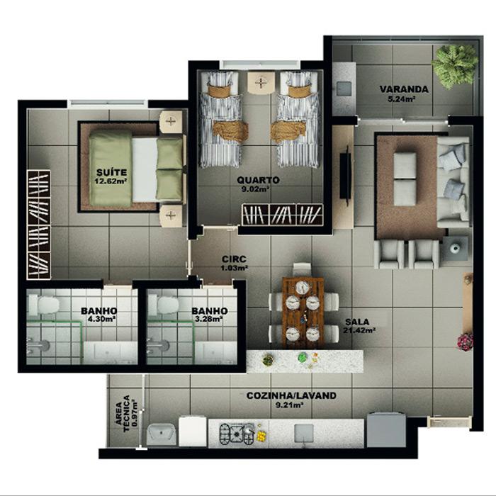 Apartamento, 77,02 m² c/ 1 vaga