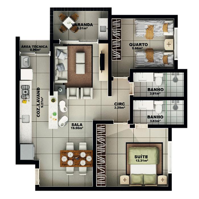 Apartamento, 77,04 m² c/ 1 vaga