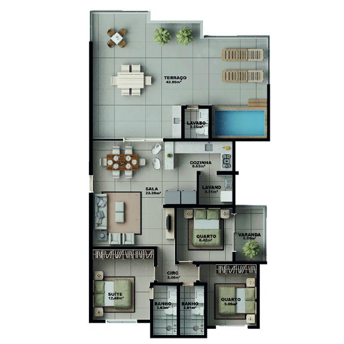 Apartamento na cobertura, 155,89 m² c/ 2 vagas