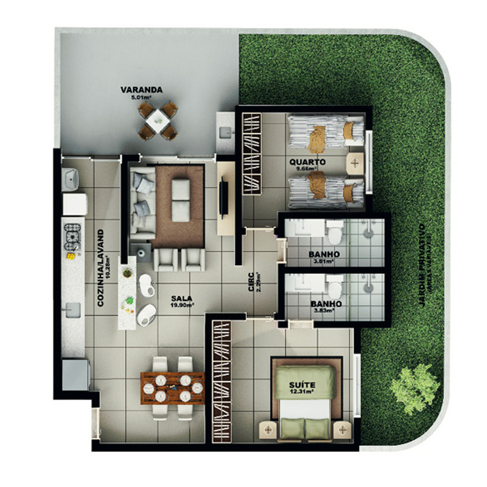 Apartamento garden, 117,01 m² c/ 1 vaga subterrânea
