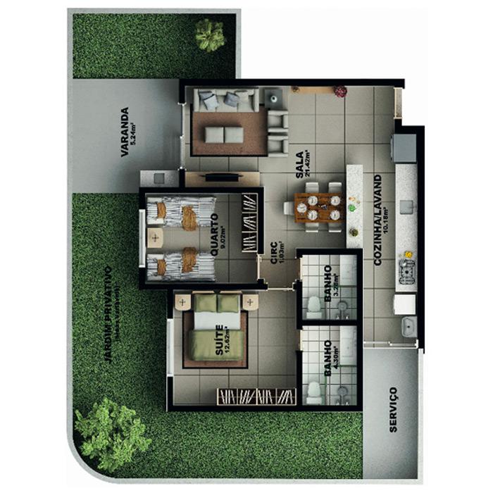 Apartamento garden, 119,68 m² c/ 1 vaga subterrânea
