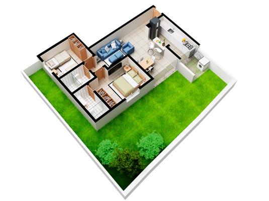 Apartamento Garden com 2 dormitórios, 121 m²