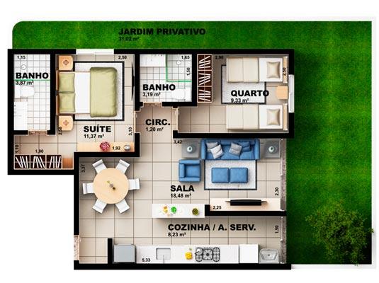 Apartamento Garden com 2 dormitórios, 96 m²