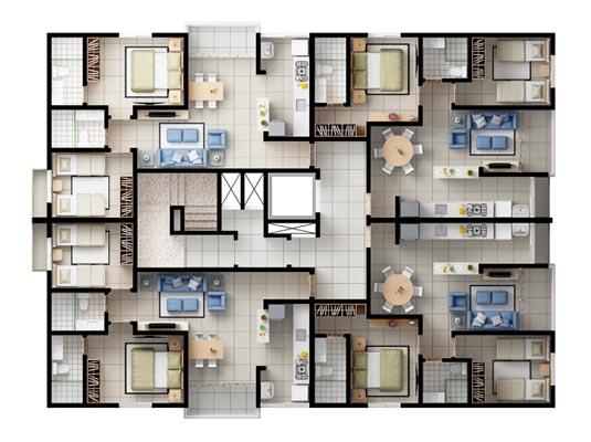 Planta geral com 2 dormitórios