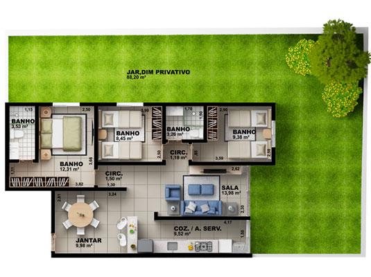 Apartamento Garden com 3 dormitórios, 136 m²