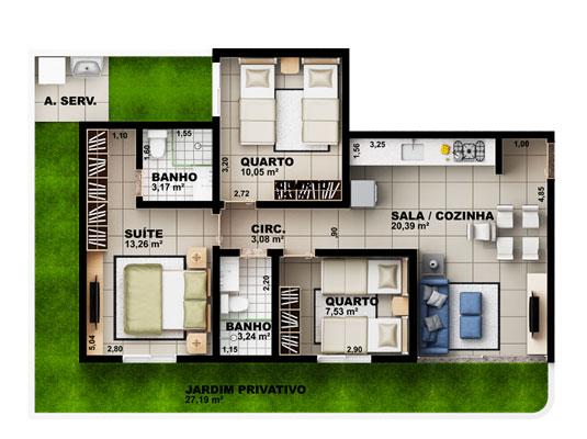 Apartamento Garden com 3 dormitórios, 170 m²