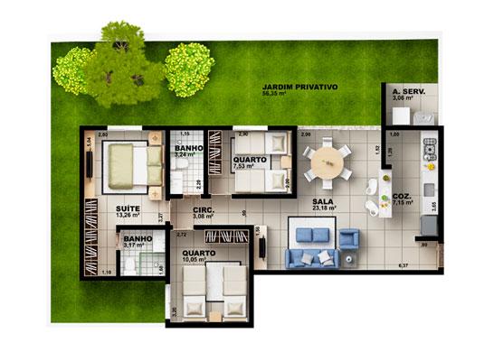Apartamento Garden com 3 dormitórios, 97m²