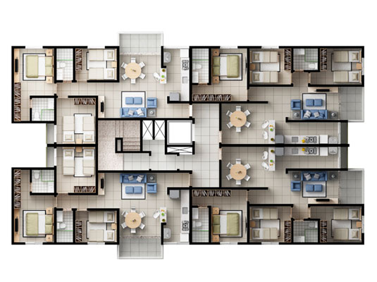 Planta geral com 3 dormitórios