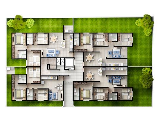 Planta geral Gardens com 3 dormitórios