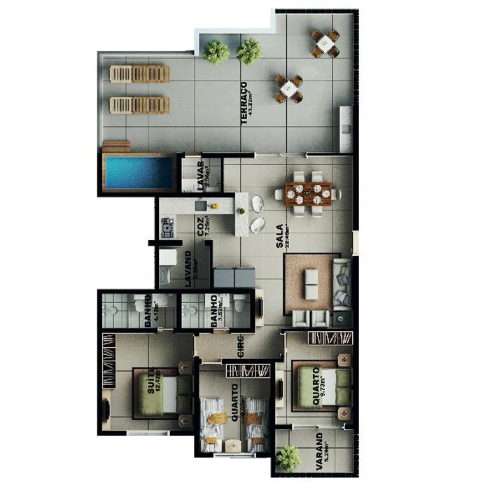 Apartamento na cobertura, 148,74 m² c/ 2 vagas