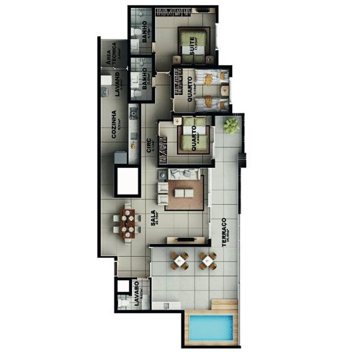 Apartamento na cobertura, 151,05 m² c/ 2 vagas