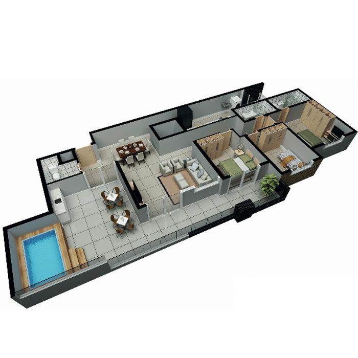 Apartamento na cobertura, 151,51 m² c/ 2 vagas