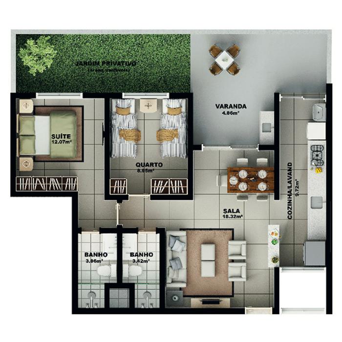 Apartamento garden, 103,33 m² c/ 1 vaga subterrânea