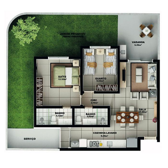 Apartamento garden, 117,69 m² c/ 1 vaga