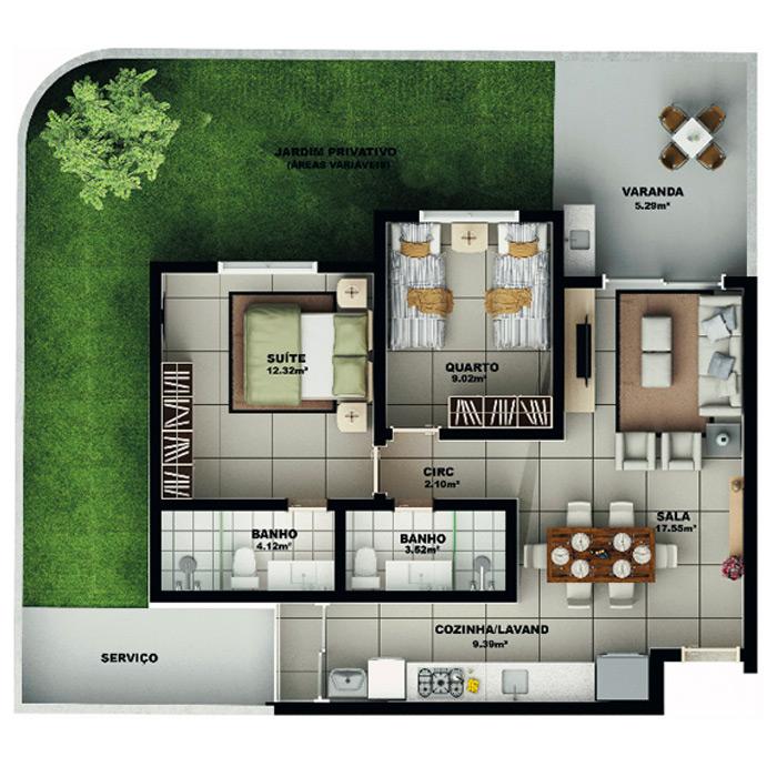 Apartamento garden, 111,50 m² c/ 1 vaga