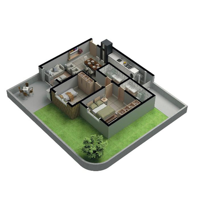 Apartamento garden, 119,86 m² c/ 1 vaga