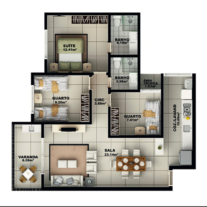 Apartamento, 99,42 m² c/ 1 vaga subterrânea