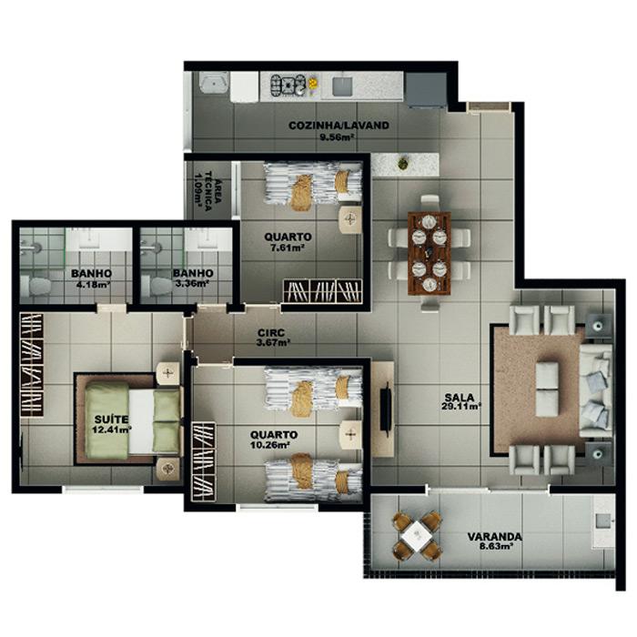Apartamento, 99,82 m² c/ 1 vaga subterrânea