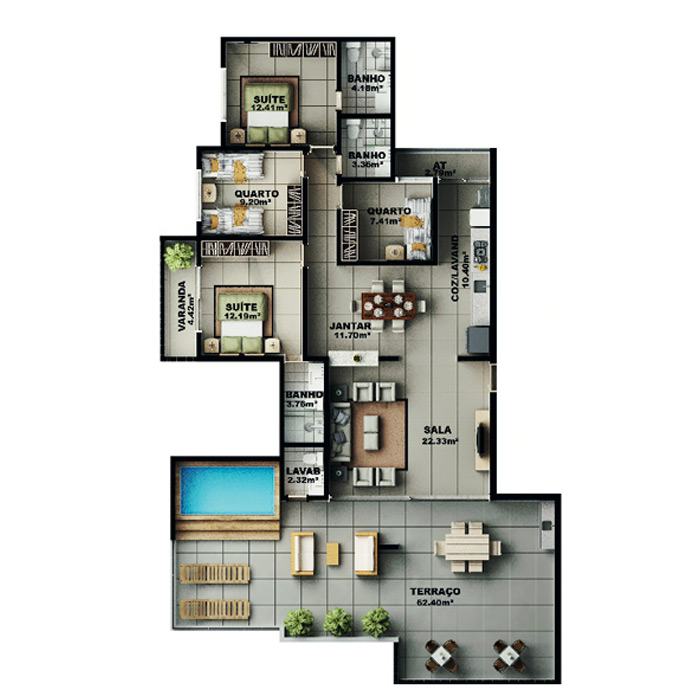 Apartamento na cobertura, 192,68 m² c/ 2 vagas subterrâneas