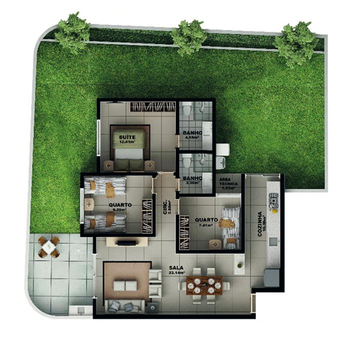 Apartamento garden, 170,58 m² c/ 1 vaga subterrânea