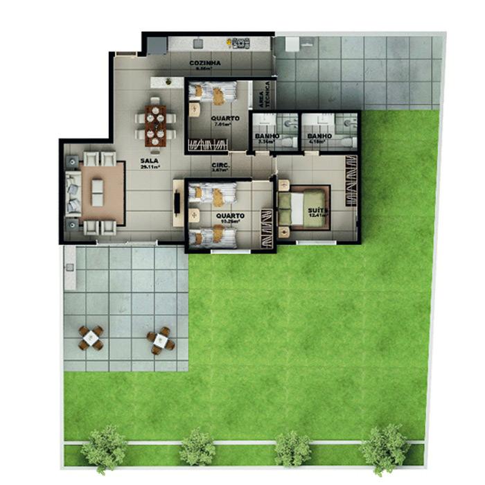Apartamento garden, 258,93 m² c/ 1 vaga subterrânea