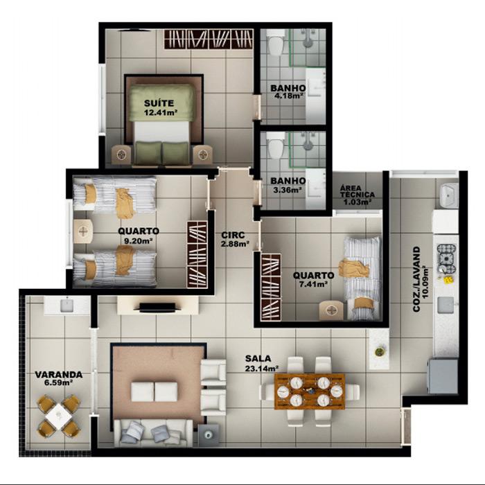 Apartamento Garden 90,42 m² c/ 1 vaga subterrânea
