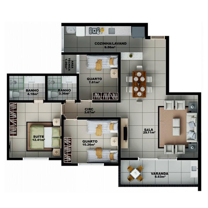 Apartamento 99,82 m² c/ 1 vaga subterrânea
