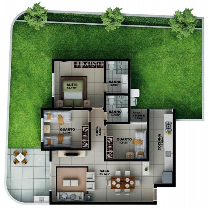 Apartamento 188,78 m² c/ 1 vaga subterrânea
