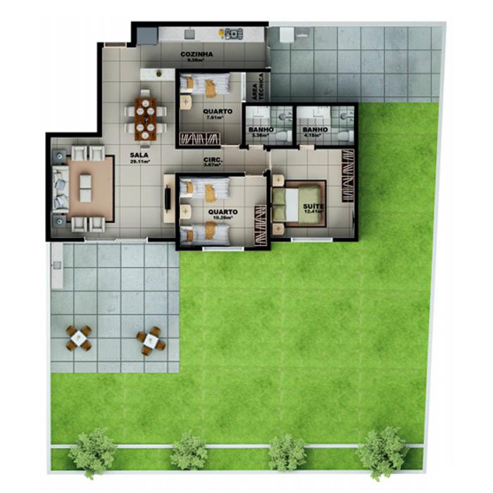 Apartamento 267,83 m² c/ 1 vaga subterrânea
