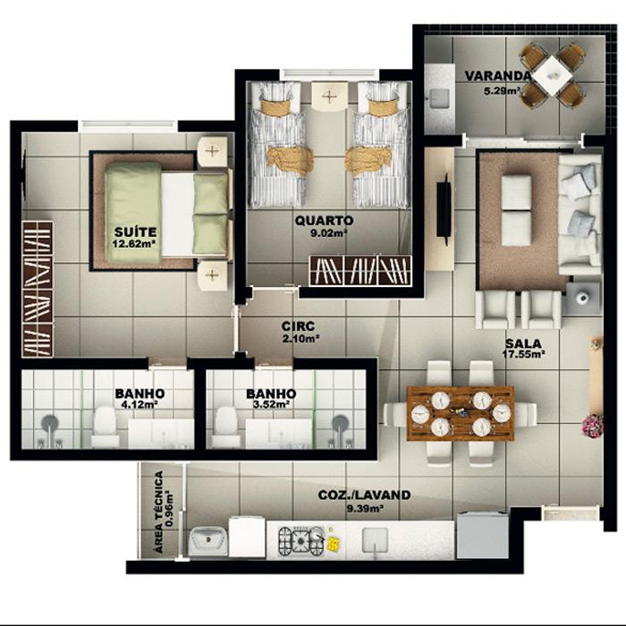 Apartamento, 73,49 m² c/ 1 vaga