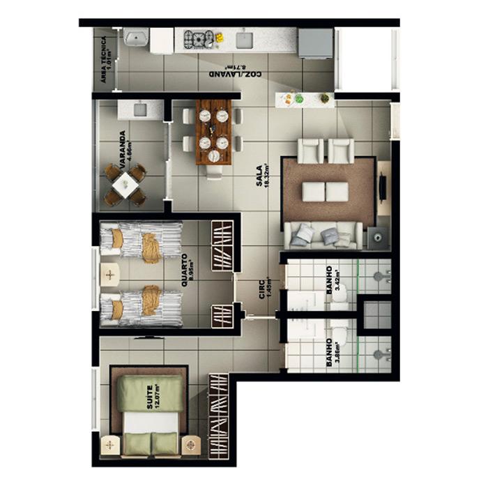 Apartamento, 72,56 m² c/ 1 vaga