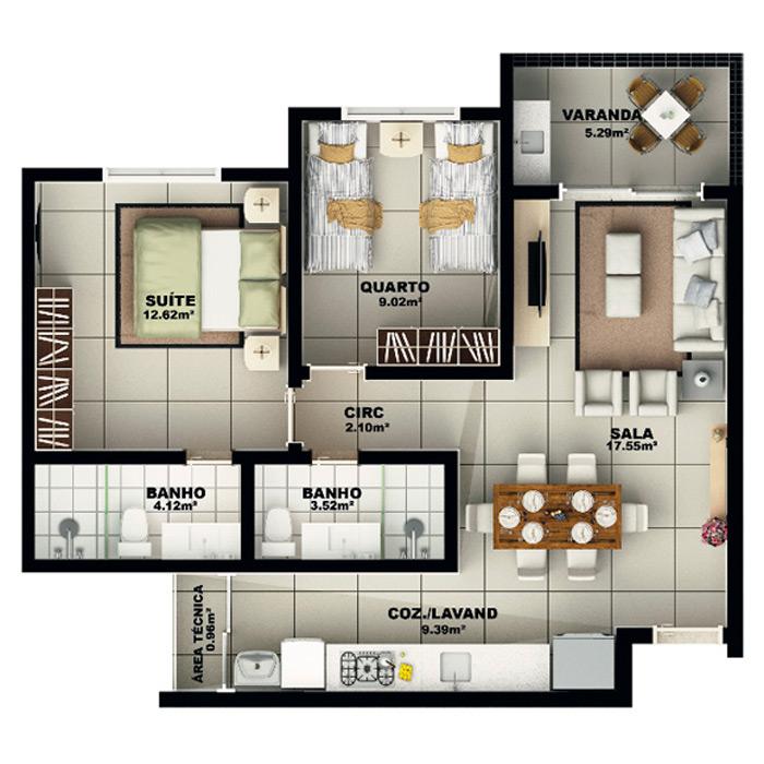 Apartamento, 72,92 m² c/ 1 vaga