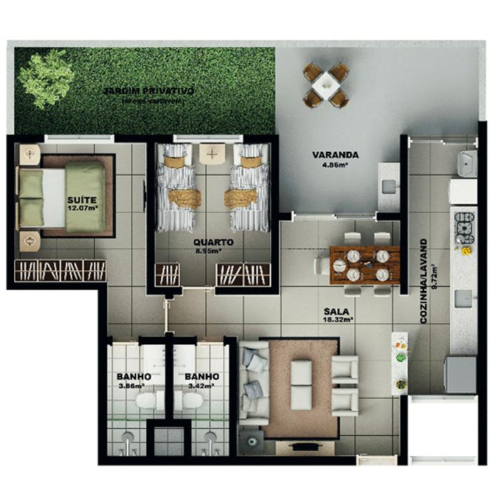 Apartamento garden, 103,70 m² c/ 1 vaga