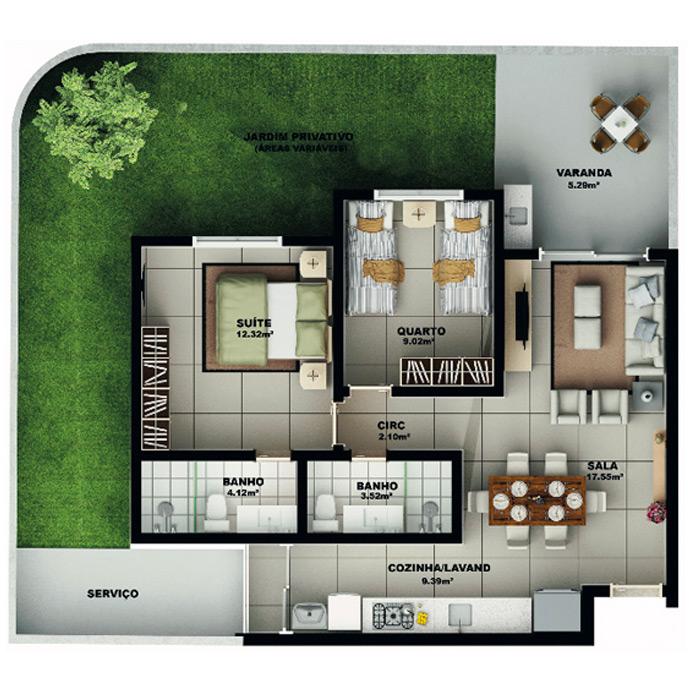Apartamento garden, 115 m² c/ 1 vaga