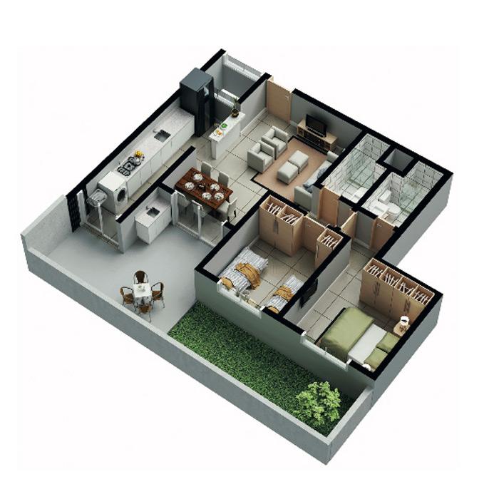 Apartamento garden, 91,53 m² c/ 1 vaga