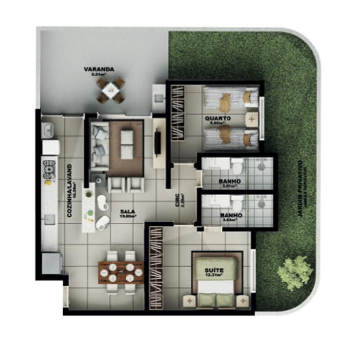 Apartamento garden, 112,17 m² c/ 1 vaga subterrânea