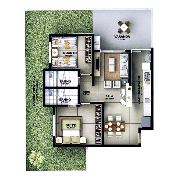 Apartamento garden, 122,02 m² c/ 1 vaga
