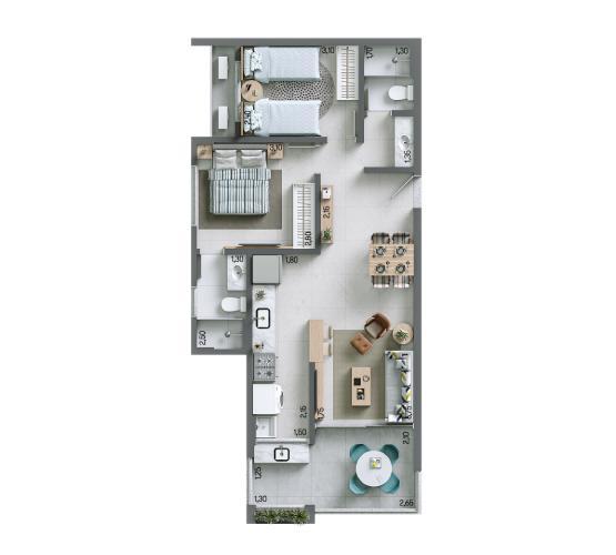 Apartamento 67,79 m² - Final 9