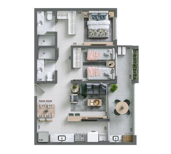 Apartamento 69,87 m² - Final 7