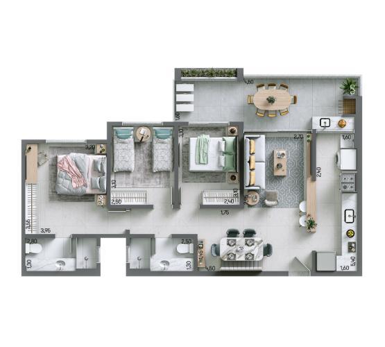 Apartamento 90,62 m² - Final 3