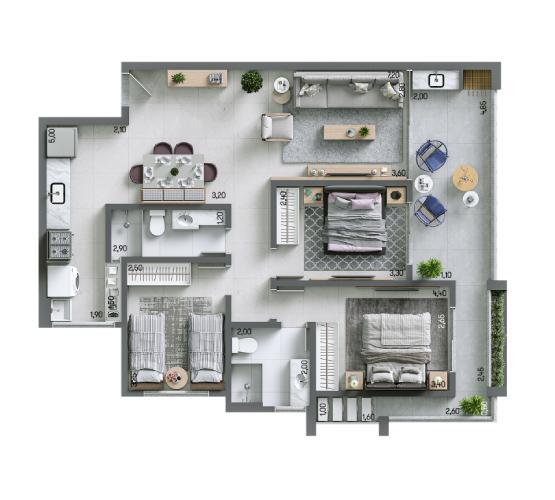Apartamento 95,61 m² - Final 2