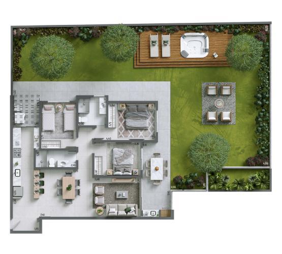Apartamento Garden 241,09 m² c: 1 vaga