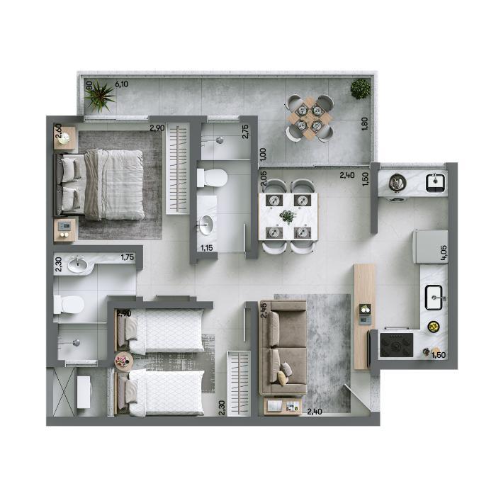 Apartamento 58,28 m² - Final 05