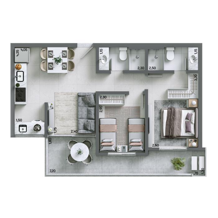 Apartamento 60m² - Final 04