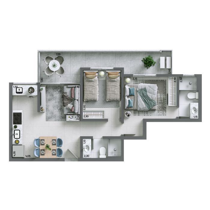 Apartamento 60,21 m² - Final 03