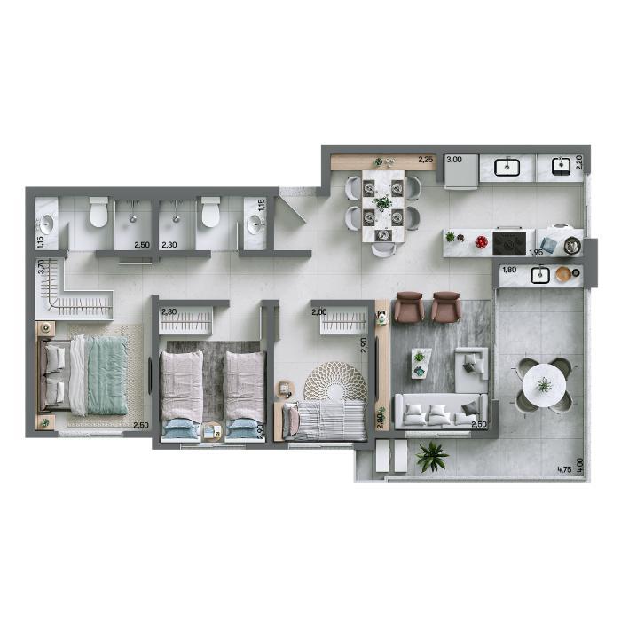 Apartamento 74,93 m² - Final 02